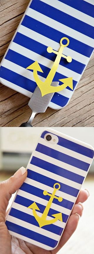 Inventive DIY Phone Cases Nautical Anchor Case: Got a thing for the life aquatic? You'll always be ready to set sail with this as your case. This tutorial shows how to use a Silhouette die-cutting printer to create an anchor, but you could also try using an xacto knife or look for vinyl decals to achieve a similar look. (via 36th Avenue)