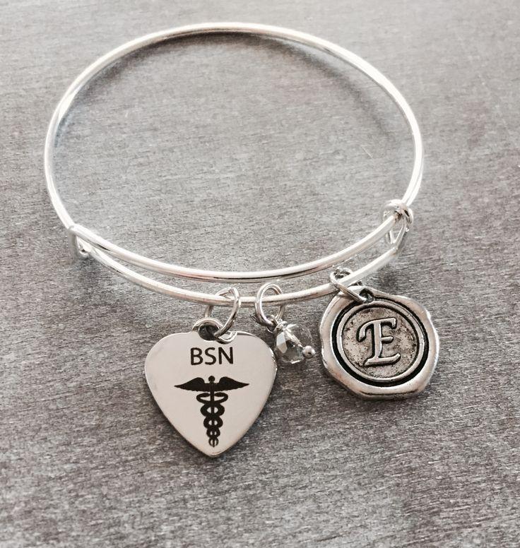 Bachelor of Science, Nursing Degree, BSN Charm, BSN Nurse,Nursing Degree BSN pinning ceremony, Nurse Jewelry, Silver Charm Bracelet, by SAjolie, $21.95 USD