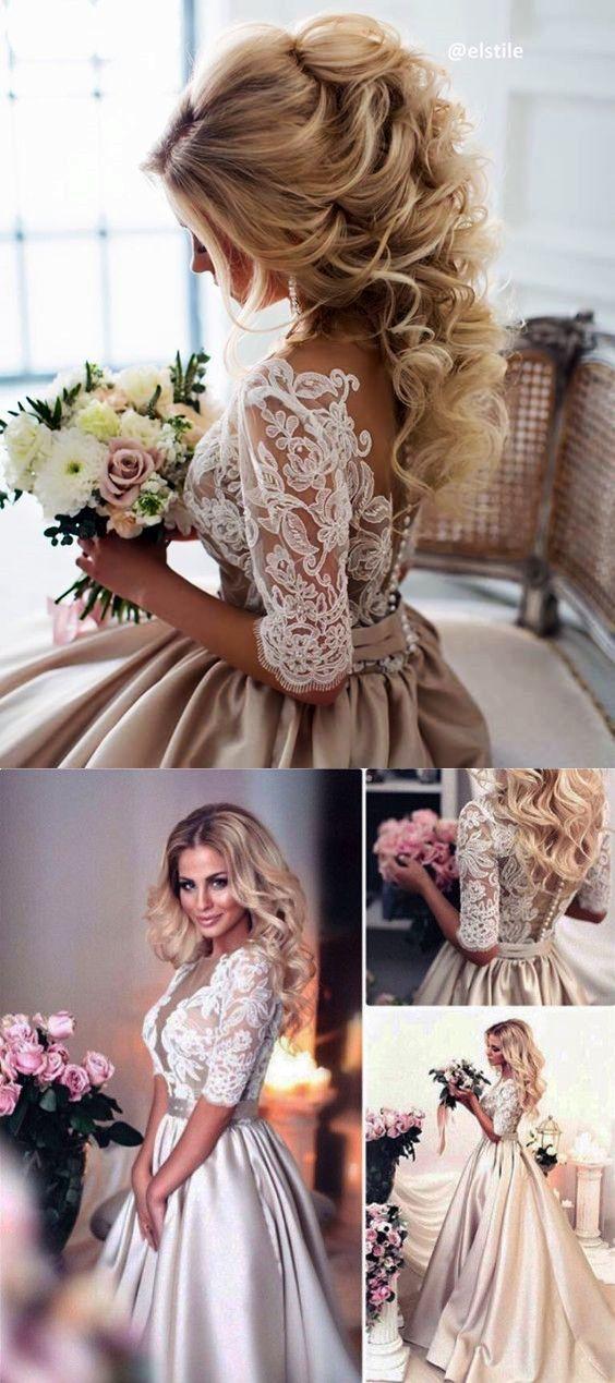 e83228f886a2 2018 prom dress, long prom dress, white lace and champagne prom dress, half  sleeves prom dress, wedding dress