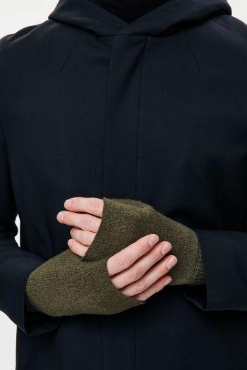 COS image 2 of Merino fingerless gloves in Olive Green
