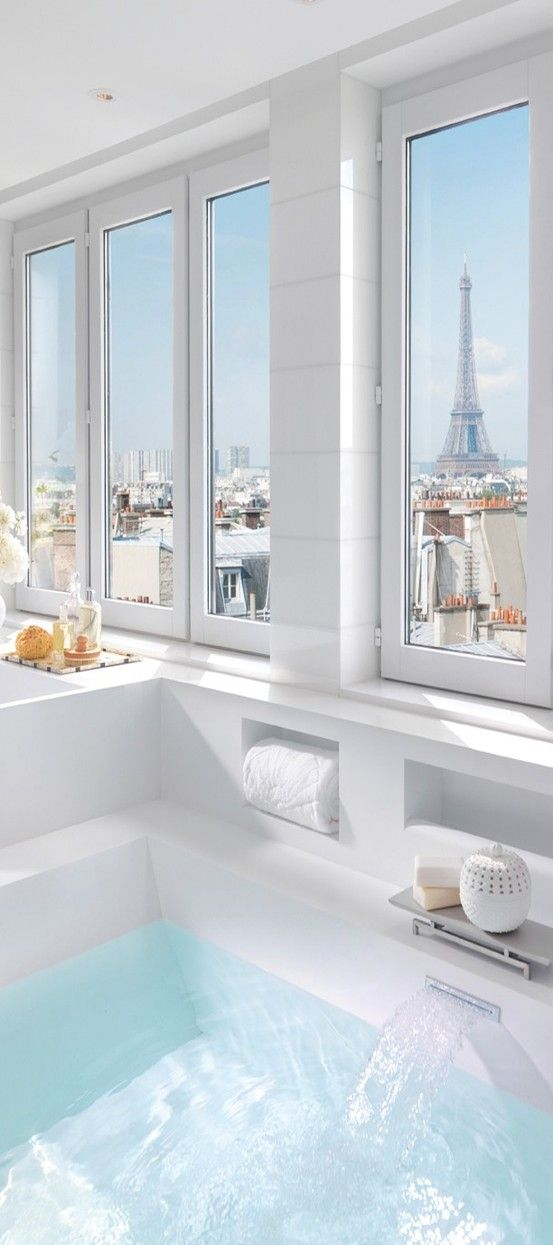 Paris (View from a bathroom in a suite at the Mandarin Oriental, Paris)