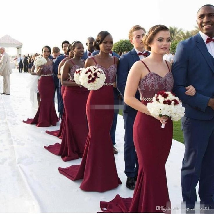 Burgundy Long Bridesmaid Dresses Spaghetti Straps Lace Beading Belt 2017 Bohemia Wedding Party Formal Wear Mermaid Maid of Honor Party Gown