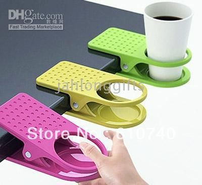 Wholesale - 48pcs Creative Space Saving Deskside Drinklip Cup Holder Promotional Gift Giveaways Glass Holder(China (Mainland))