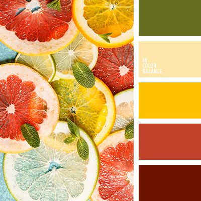 алый, бледно-желтый, бордовый, зеленый, насыщенный красный, оливковый, оттенки желтого, подбор цвета, солнечный желтый, тёмно-зелёный, цвет грейпфрута, цвет цитрусовых, яркий желтый.
