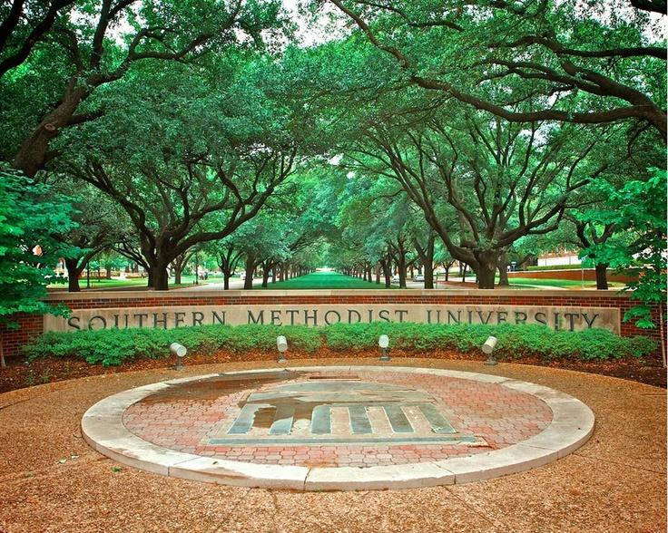 SMU Southern Methodist University Mustangs - campus entrance wall