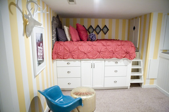 kitchen cabinets as bed base