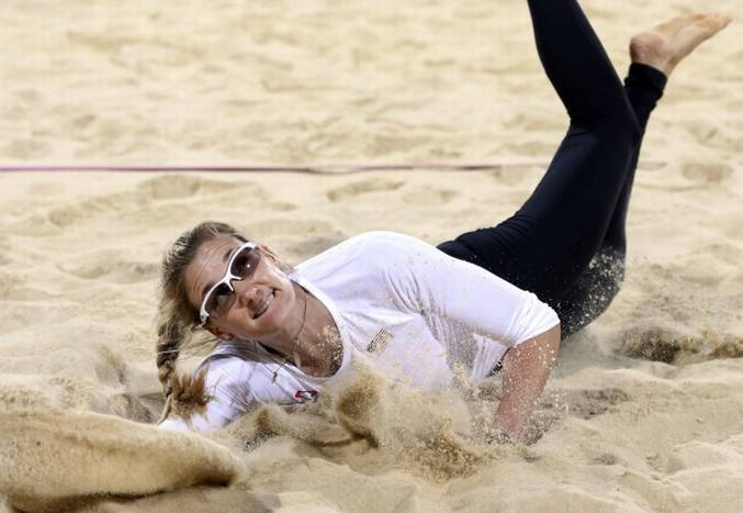 USA's Kerri Walsh Jennings dives for a ball during a preliminary volleyball match against Czech Republic at the Horse Guards Parade during the London 2012 Olympics on Monday, July 30, 2012 in London. She didn't keep the ball in play.Summer Olympics, Olympics Games, 2012 Olympics, Olympics London, Volleyball, Walsh, 2012 Summer, Beach, Sports Texas Misc