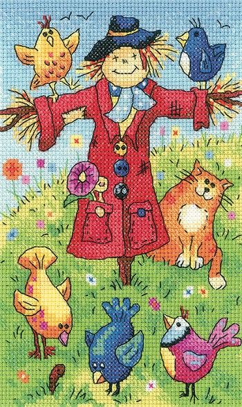 Scarecrow counted cross stitch design by Karen Carter. Kit includes fabric…