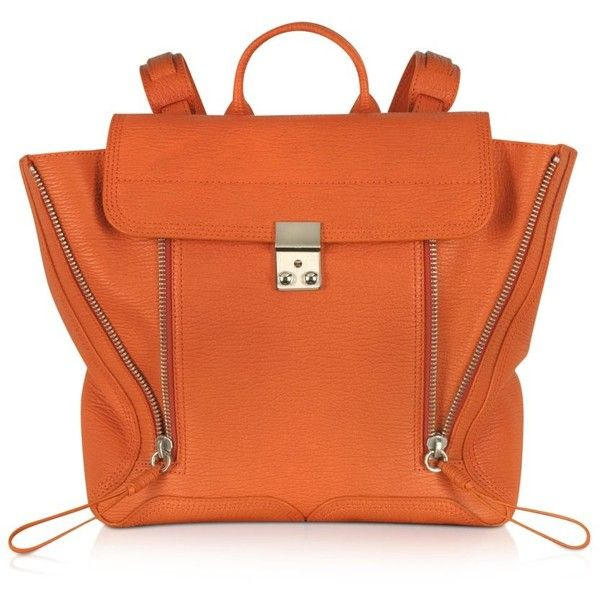 3.1 Phillip Lim Pashli Backpack ($895) ❤ liked on Polyvore featuring bags, backpacks, mandarin, day pack backpack, daypack bag, expandable backpack, orange backpack and backpack bags