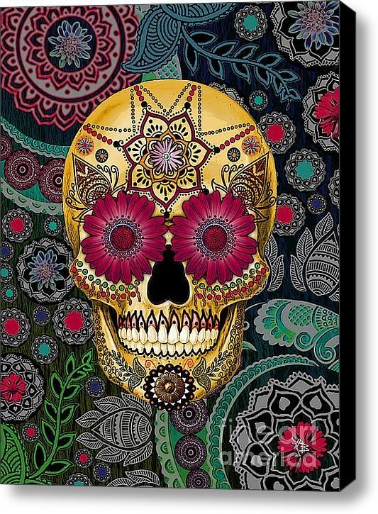 Sugar Skull Paisley Garden Stretched Canvas Print