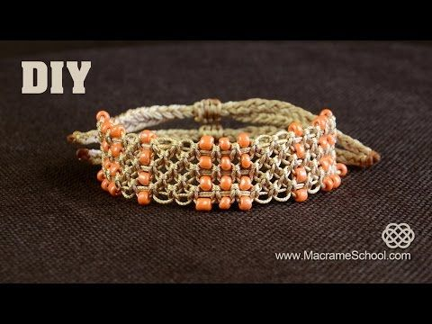 Easy Square Knot Bracelet with Beaded Lines [DIY] - YouTube