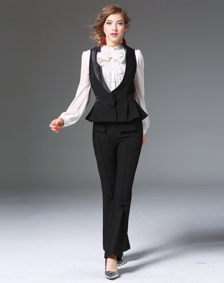 #AdoreWe mojaser Black Vest Ruffled Trumpet Pants Two Piece Suits And Separate - AdoreWe.com