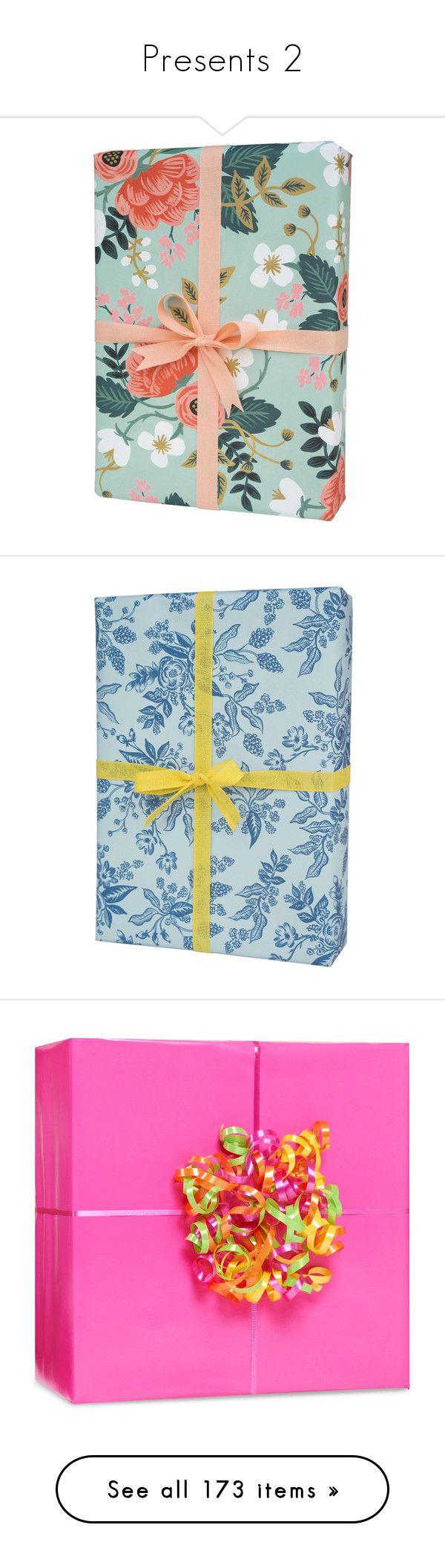 """Presents 2"" by julia-hart ❤ liked on Polyvore featuring home, home decor, holiday decorations, gift boxes, gifts, holiday, holiday home decor, holiday gift wrapping paper, holiday wrapping paper and birch home decor"