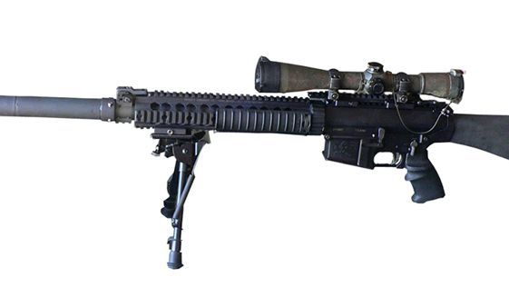 KNIGHT'S ARMAMENT COMPANY SR-25 (U.S.A.) - The SR-25 (Stoner Rifle-25) is a semi-automatic special application sniper rifle designed by Eugene Stoner and manufactured by Knight's Armament Company. The SR-25 uses a rotating bolt and a direct impingement gas system. It is loosely based on Stoner's AR-10, rebuilt in its original 7.62×51mm NATO caliber. Up to 60% of parts of the SR-25 are interchangeable with the AR-15 and M16—everyt...