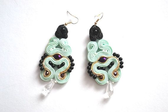 Soutache earrings with Swarovski Elements by StylazkaSoutache