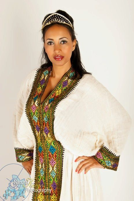 Ethiopian Tradiitonal dress.I LOVE TRADITIONAL DRESSES LIKE MOROCAN ,ETHIOPIAN & INDIAN.IT HAS ESSANCES , ART & VALUE OF ITS NATION.