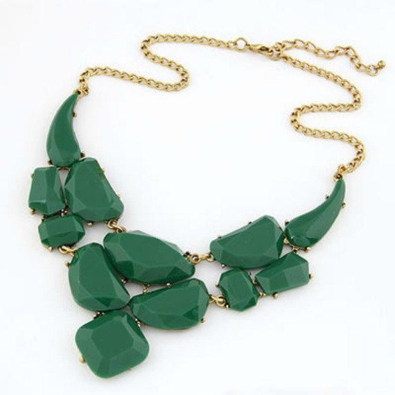 Dark Green Statement Necklace by ForeverNecklaces on Etsy