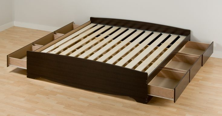 Simple Affordable Black Polished King Size Mahogany Low Platform Bed Storage Design Without Headboard Be Equipped Six Side Drawer Underneath And Pine Deck Slates As Well As King Storage Bed Also King Size Bed Frame of Modern Convertible Beds With Multipurpose Storage from Bed Ideas