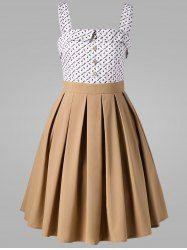 Printed Button Midi Vintage Ball Gown Dress Mobile