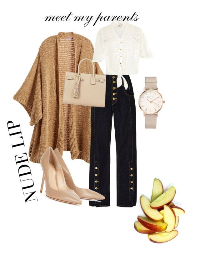 """""""💕😍"""" by larisamarin on Polyvore featuring Calypso St. Barth, River Island, Gianvito Rossi, Yves Saint Laurent and ROSEFIELD"""