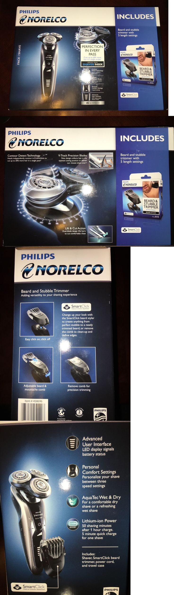 Mens Shavers: Philips Norelco Shaver 9400X Beard And Stubble Trimmer - Brand New In Box BUY IT NOW ONLY: $99.99