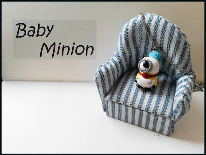 despicable me   baby minion necklace   miniature polymer clay cute jewelry   sweet