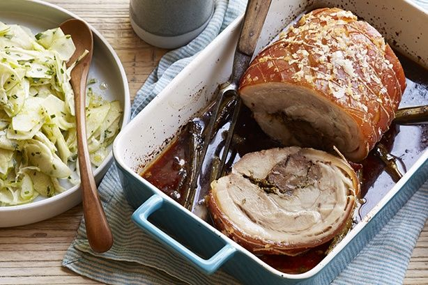 Tuscan style porchetta with fennel and apple salad