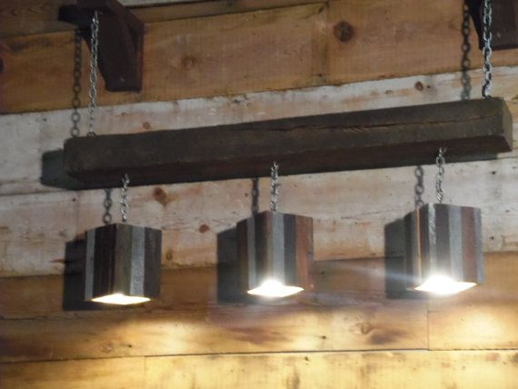 Modern rustic reclaimed wood and barn beam hanging light for Rustic barn light fixtures
