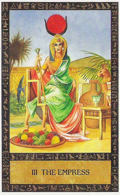 The Goddess HetHert (Hathor) as the Empress in Clive Barrett's Ancient Egyptian tarot deck.