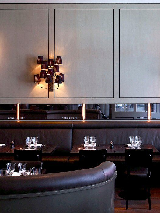Lighting, all dark lower half creates intimacy, light uppers allows a feeling of spaciousness.
