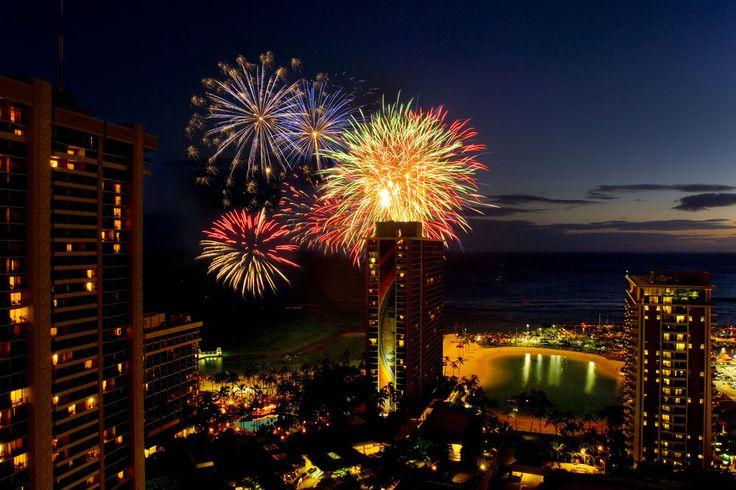 Hilton Hawaiian Village - night time aerial view