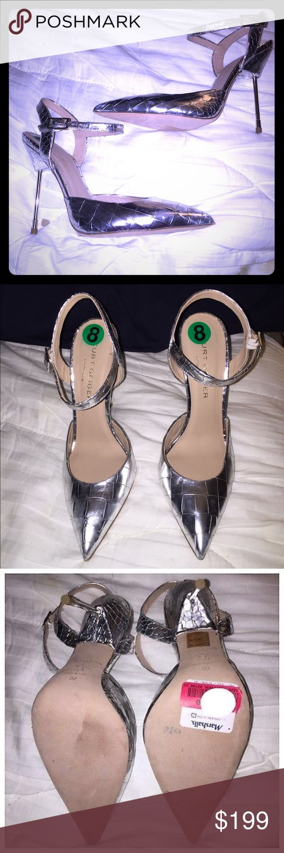 Selling this NWT Kurt Geiger Yasmin Silver Heels on Poshmark! My username is: dionysia8. #shopmycloset #poshmark #fashion #shopping #style #forsale #Kurt Geiger #Shoes