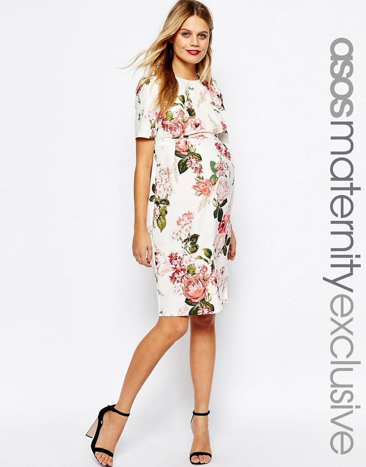 ASOS Maternity | ASOS Maternity Floral Print Wiggle Dress at ASOS