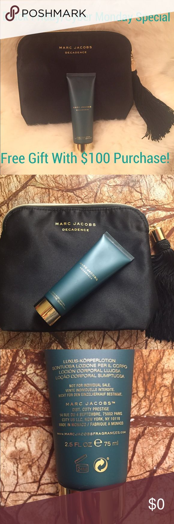 """Marc Jacobs Decadence Make Up Case And Body Lotion Black Marc Jacobs Decadence make up case with gold tone top zip closure with large tassel at zipper pul. Includes Marc Jacobs Decadence lotion - 2.5 oz that has been used once but is over 75% full. Make up case has never been used and is 100% Polyester in size 7""""x8"""". Marc Jacobs Bags"""
