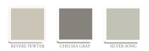 To make the process easier we have put together some of our favorite grays from Benjamin Moore. If you are in need of a warmer gray Revere Pewter is the ticket. Chelsea Gray is a deep masculine and dramatic color. Finally, Silver Song is a good choice for a very soothing and quiet color.