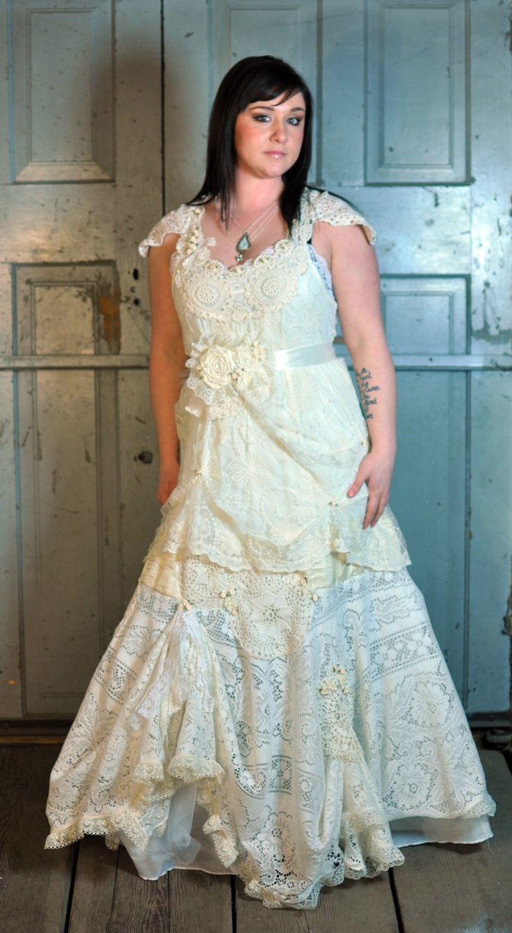 105 best images about funky upcycled wedding ideas on for Recycle wedding dress ideas