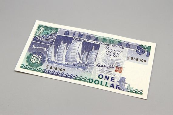 1 Dollar Singapore D6 Paper Money One Dollar Note Singapore Old