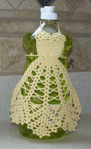 een (wijn, handzeep, dreft) fles decoreren met een gehaakt jurkje decorate your dish detergent bottle
