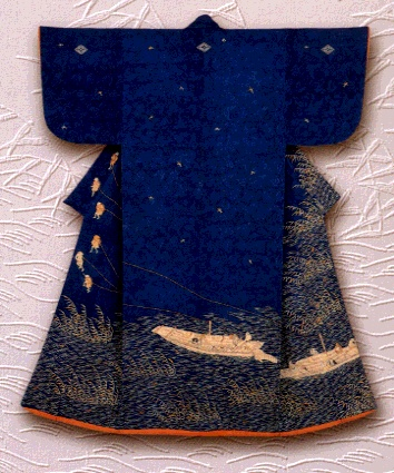 Kosode kimono with design of towboats on the Yodo River. Last quarter of the eighteenth century (Mid-Edo period). Design attributed to Katsukawa Shunsho.
