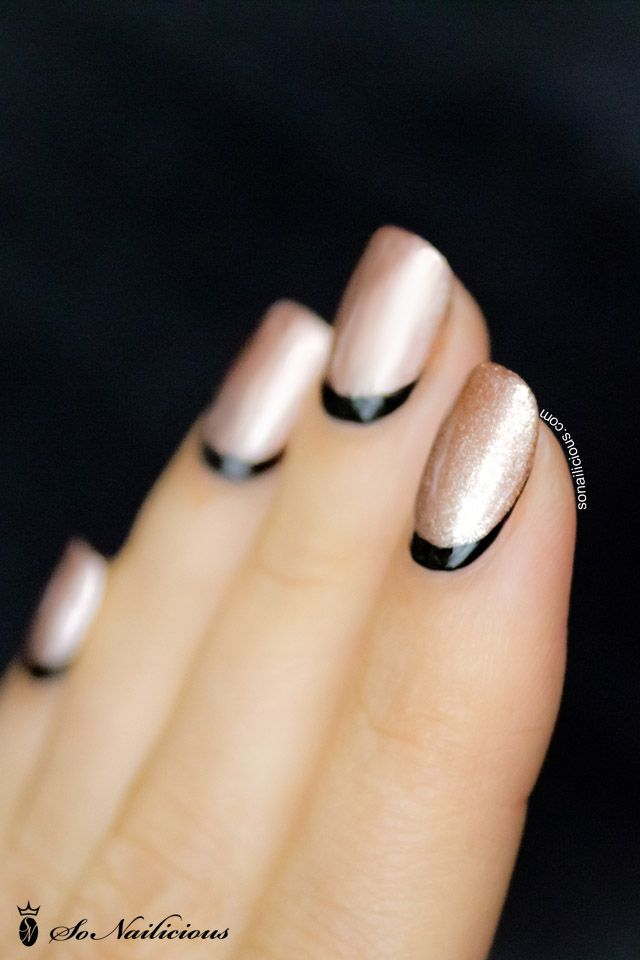 "Ruffian nail art in rose gold and black. Rose gold color is Hello Darling ""Mrs. Reynolds"" per author in comment section!"