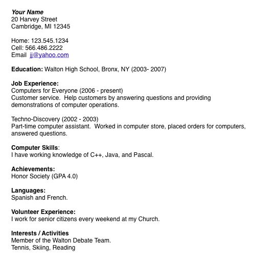 General Purpose Teen Resume. Example Of College Student Resumes