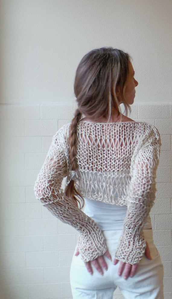 Ivory Cream Cropped Top With Long Sleeves And Thumbholes Etsy Crochet Clothes Crochet Summer Tops Crochet Top