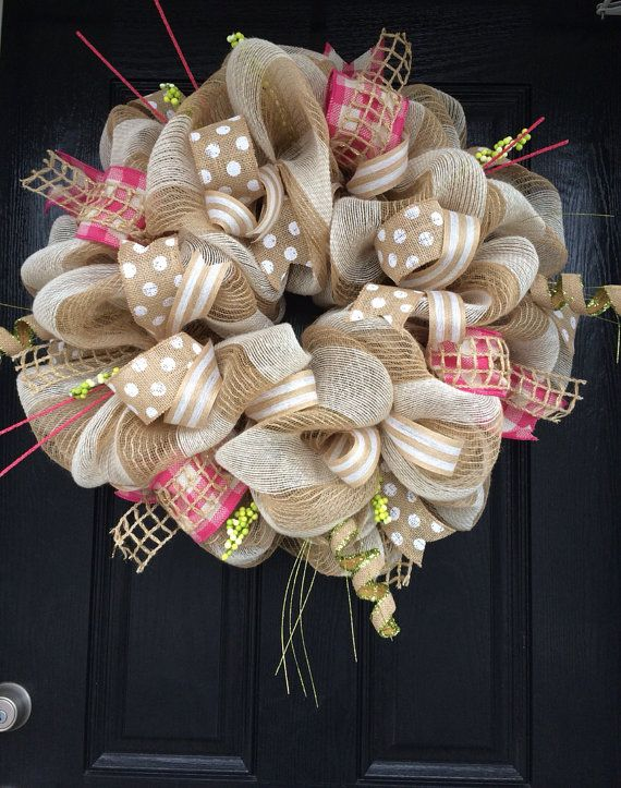Spring Burlap Wreath Shabby Chic Wreath by AllMeshedUp2014 on Etsy, $100.00…