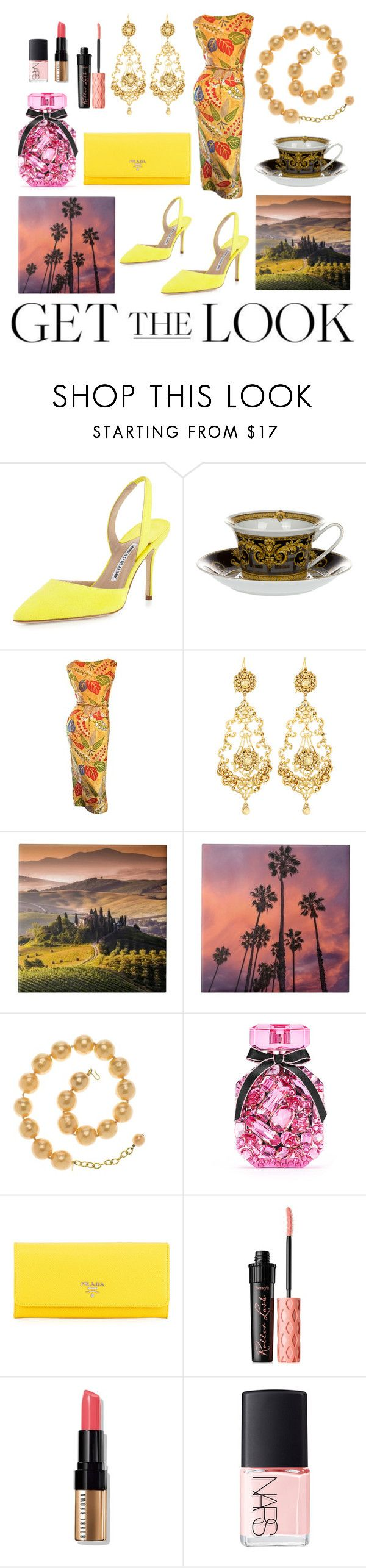 """Get the Look: Met Gala 2016"" by artpics ❤ liked on Polyvore featuring Manolo Blahnik, Versace, Adele Simpson, Jose & Maria Barrera, Chanel, Victoria's Secret, Prada, Benefit, Bobbi Brown Cosmetics and NARS Cosmetics"