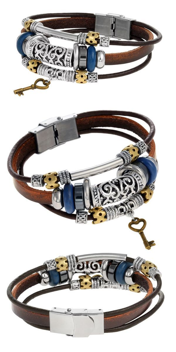 nice Boho Leather Bracelet with Beads and Key by http://www.tillsfashiontrends.top/leather-bracelets/boho-leather-bracelet-with-beads-and-key/
