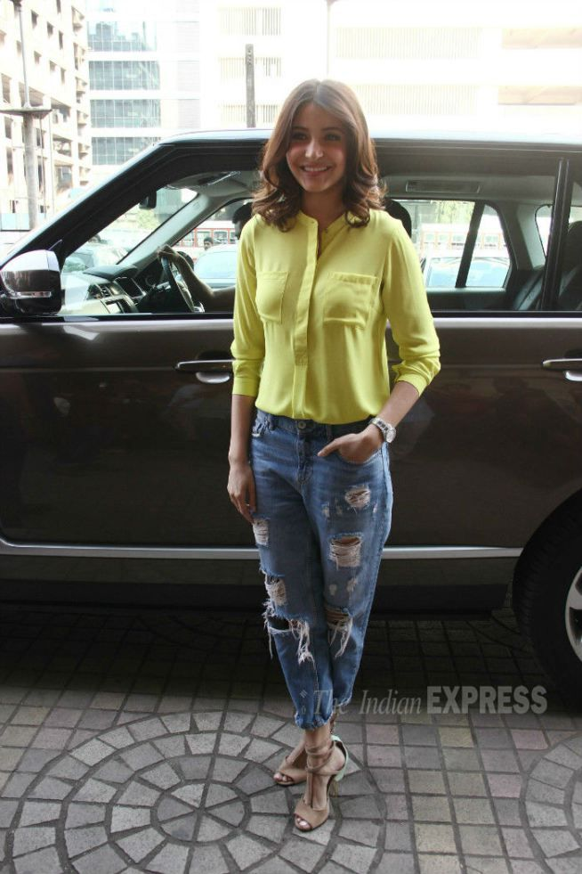 Anushka Sharma arrives at the venue for the trailer launch of 'NH10'. #Bollywood #Fashion #Style #Beauty