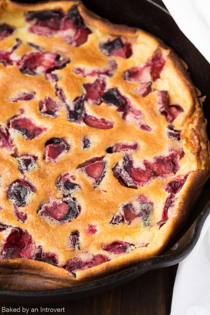 Roasted Plum Clafoutis Recipe | bakedbyanintrovert.com @introvertbaker
