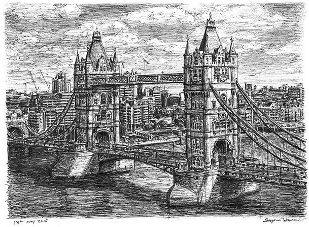 Tower bridge london may 2015 · pencil drawingsart