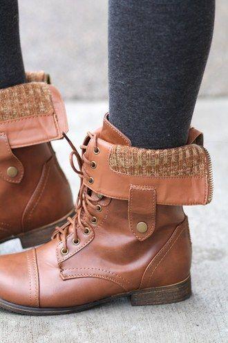 2 Way Beyonce Lace Up Combat Boots (Tan)