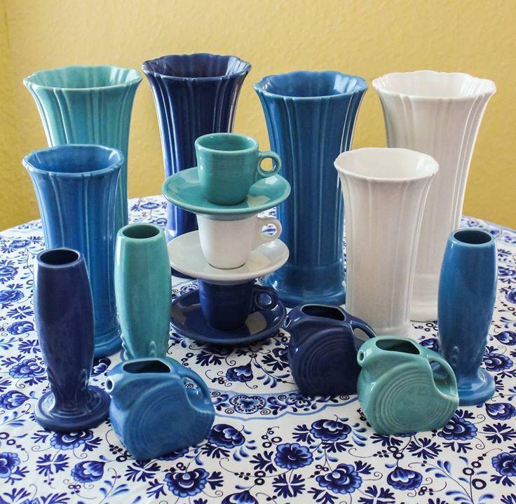 Fiesta Blues Medium & Small Vases, AD Demitasse Cups & Saucers, Bud Vases, Mini Disc Pitchers. *Image Copyright ~ Traci Estes